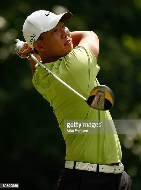 Anthony Kim hits his tee shot on the ninth hole during the weatherdelayed second round of the BMW Championship on September 6 2008 at Bellerive...