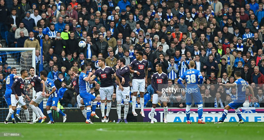 Anthony Knockaert (R) #27 of Brighton and Hove Albion takes a free kick during the Sky Bet Championship match between Brighton and Hove Albion and Derby County at the Amex Stadium on May 2, 2016 in Brighton, United Kingdom.
