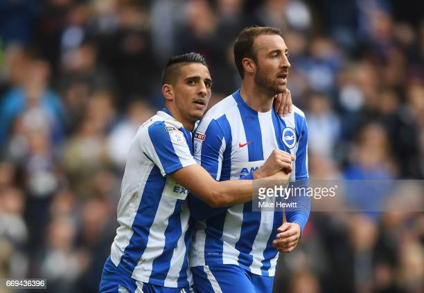 Anthony Knockaert and Glenn Murray of Brighton and Hove Albion celebrate during the Sky Bet Championship match between Brighton and Hove Albion and...