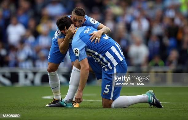 Anthony Knockaert of Brighton and Hove Albion and Lewis Dunk of Brighton and Hove Albion during the Premier League match between Brighton and Hove...