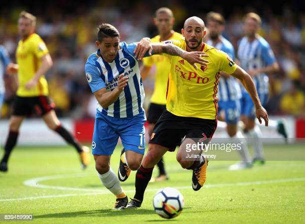 Anthony Knockaert of Brighton and Hove Albion and Nordin Amrabat of Watford battle for possession during the Premier League match between Watford and...