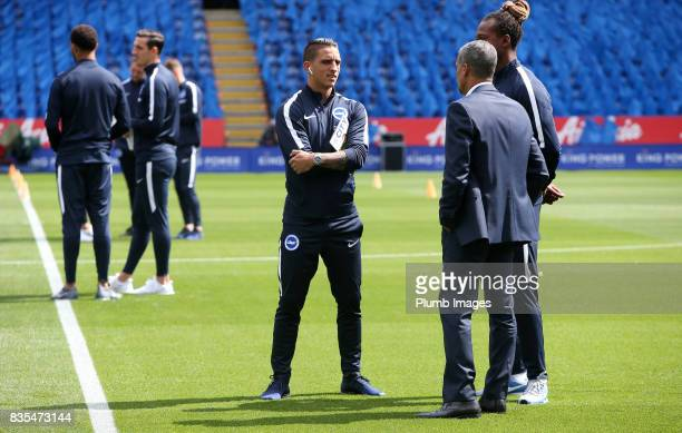 Anthony Knockaert of Brighton and Hove Albion at King Power Stadium ahead of the Premier League match between Leicester City and Brighton and Hove...