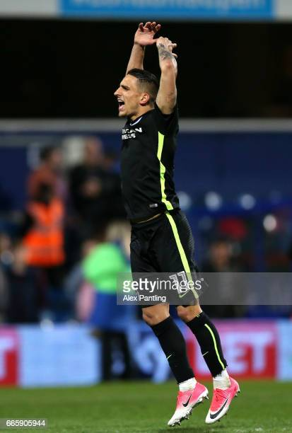 Anthony Knockaert of Brighton and Hove Albion celebrates after the full time whistle during the Sky Bet Championship match between Queens Park...