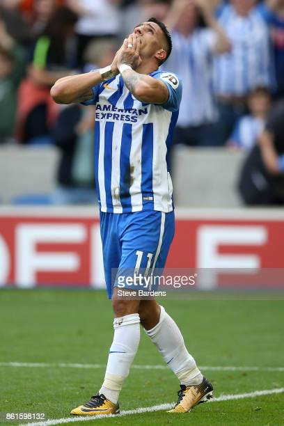 Anthony Knockaert of Brighton and Hove Albion celebrates scoring the first goal during the Premier League match between Brighton and Hove Albion and...