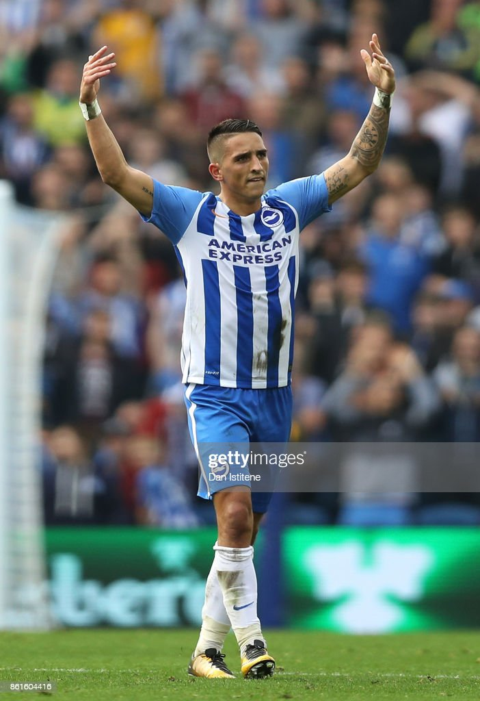 Anthony Knockaert of Brighton and Hove Albion celebrates scoring the first goal during the Premier League match between Brighton and Hove Albion and Everton at Amex Stadium on October 15, 2017 in Brighton, England.