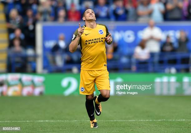 Anthony Knockaert of Brighton and Hove Albion comes on as a second half substitute during the Premier League match between Leicester City and...