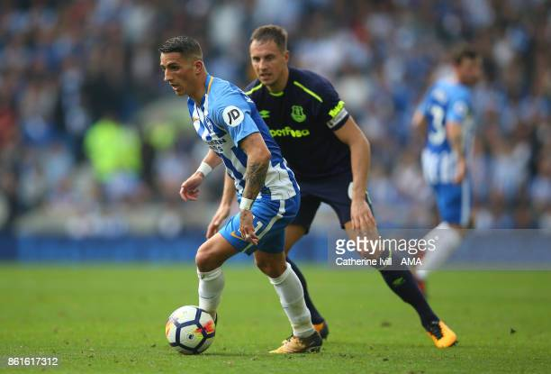 Anthony Knockaert of Brighton and Hove Albion during the Premier League match between Brighton and Hove Albion and Everton at Amex Stadium on October...