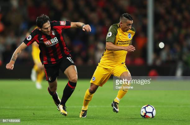 Anthony Knockaert of Brighton and Hove Albion evades Charlie Daniels of AFC Bournemouth during the Premier League match between AFC Bournemouth and...