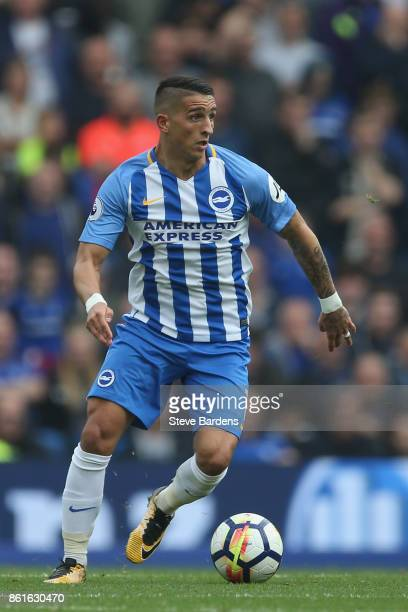 Anthony Knockaert of Brighton and Hove Albion in action during the Premier League match between Brighton and Hove Albion and Everton at Amex Stadium...