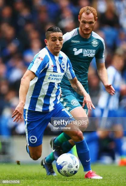 Anthony Knockaert of Brighton and Hove Albion is closed down by Shaun MacDonald of Wigan during the Sky Bet Championship match between Brighton and...