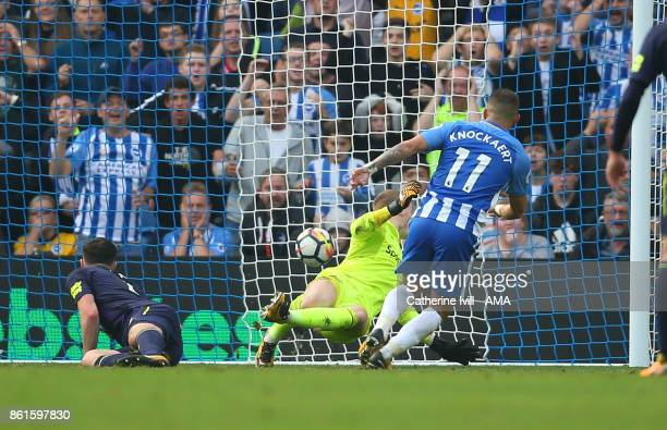 Anthony Knockaert of Brighton and Hove Albion scores a goal to make it 10 during the Premier League match between Brighton and Hove Albion and...