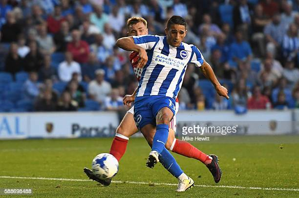 Anthony Knockaert of Brighton and Hove Albion scores his sides first goal during the Sky Bet Championship match between Brighton Hove Albion and...