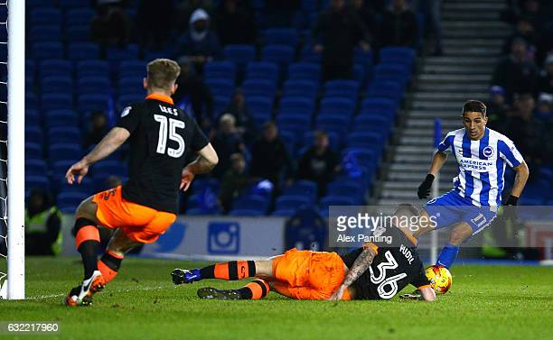 Anthony Knockaert of Brighton and Hove Albion takes on Daniel Pudil of Sheffield Wednesday on his way to scoring his sides first goal during the Sky...