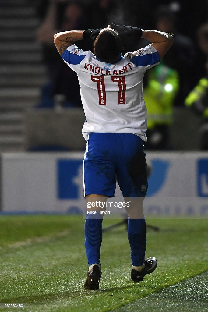 Anthony Knockaert of Brighton celebrates after scoring his second goal during the Sky Bet Championship match between Brighton & Hove Albion and Sheffield Wednesday at Amex Stadium on January 20, 2017 in Brighton, England.