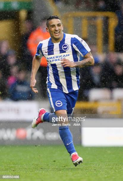 Anthony Knockaert of Brighton Hove Albion celebrates after scoring a goal to make it 02 during the Sky Bet Championship match between Wolverhampton...