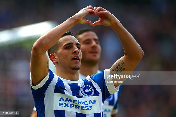 Anthony Knockaert of Brighton Hove Albion celebrates after scoring his team's second goal during the Sky Bet Championship match between Brighton Hove...