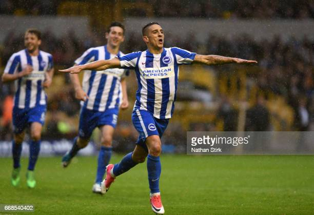 Anthony Knockaert of Brighton Hove Albion celebrates after scoring during the Sky Bet Championship match between Wolverhampton Wanderers and Brighton...