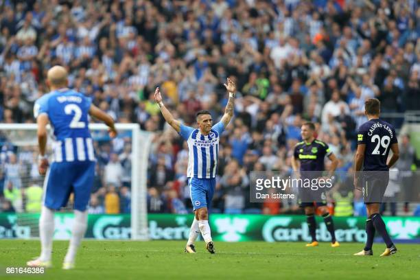 Anthony Knockaert of Brighton Hove Albion celebrates after scoring the opening goal during the Premier League match between Brighton and Hove Albion...