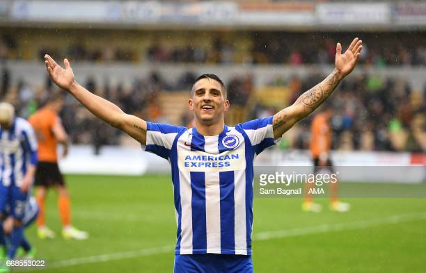 Anthony Knockaert of Brighton Hove Albion celebrates at full time during the Sky Bet Championship match between Wolverhampton Wanderers and Brighton...