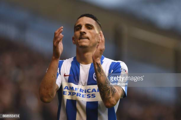 Anthony Knockaert of Brighton Hove Albion claps the fans during the Sky Bet Championship match between Wolverhampton Wanderers and Brighton Hove...