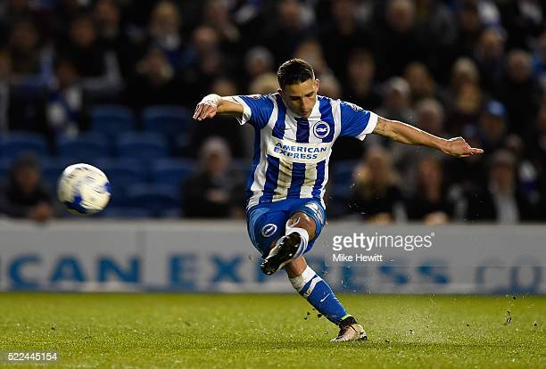 Anthony Knockaert of Brighton Hove Albion curls in a long range free kick to give his team the lead during the Sky Bet Championship match between...