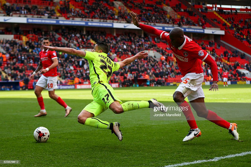 Anthony Knockaert of Brighton Hove Albion is brought down in the box by Rod Fanni of Charlton for a penalty during the Sky Bet Championship match...