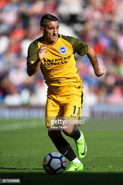 Anthony Knockaert of Brighton in action during a Pre Season Friendly between Brighton Hove Albion and Atletico Madrid at Amex Stadium on August 6...