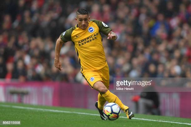 Anthony Knockaert of Brighton in action during the Premier League match between Arsenal and Brighton and Hove Albion at Emirates Stadium on October 1...