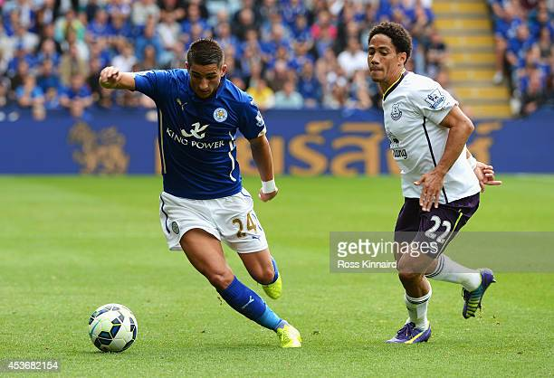 Anthony Knockaert of Leicester City is closed down by Steven Pienaar of Everton during the Barclays Premier League match between Leicester City and...