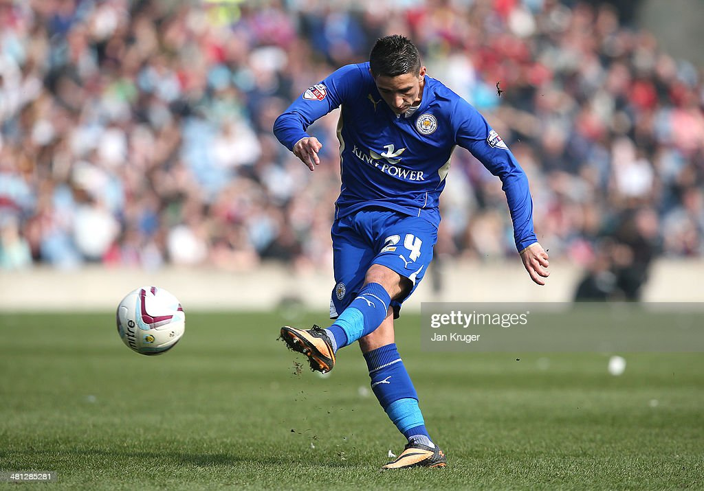 Anthony Knockaert of Leicester City shoots at goal during the Sky Bet Championship match between Burnley and Leicester City at Turf Moor on March 29, 2014 in Burnley, England.