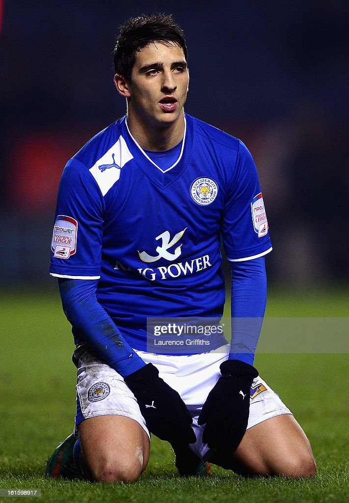 Anthony Knockaert of Leicester City shows his dissapointment during the FA Cup with Budweiser Fourth Round replay match between Leicester City and Huddersfield Town at The King Power Stadium on February 12, 2013 in Leicester, England.