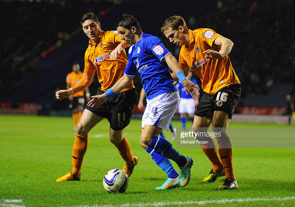 Anthony Knockaert of Leicester holds off Stephen Ward and Christophe Berra of Wolves during the npower Championship match between Leicester City and Wolverhampton Wanderers at The King Power Stadium on January 31, 2013 in Leicester, England.