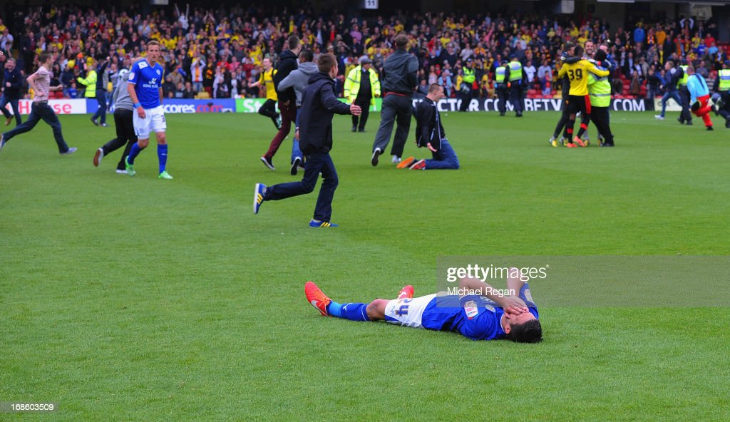 Anthony Knockaert of Leicester is dejected after the npower Championship Play Off Semi Final: Second Leg between Watford and Leicester City at Vicarage Road on May 12, 2013 in Watford, England.