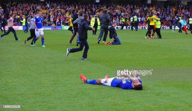 Anthony Knockaert of Leicester is dejected after the npower Championship Play Off Semi Final Second Leg between Watford and Leicester City at...