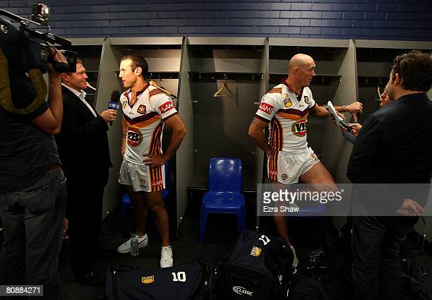 Anthony Laffranchi and Craig Fitzgibbon of Country speak to the media during the Country Origin team photocall at the Sydney Football Stadium on...