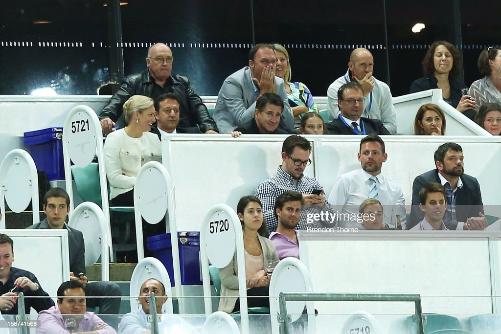Anthony LaPaglia (c) watches proceedings from the stands during the round 13 A-League match between Sydney FC and the Central Coast Mariners at Allianz Stadium on December 27, 2012 in Sydney, Australia.
