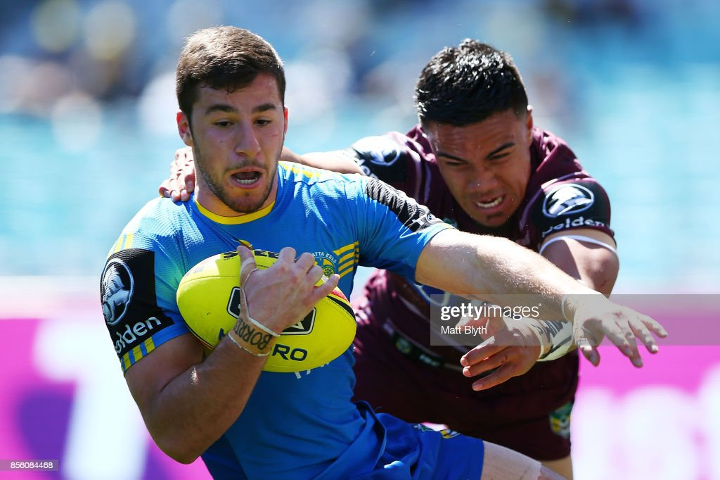 Anthony Layoun of the Eels is tackled during the 2017 Holden Cup Grand Final match between the Manly Sea Eagles and the Parramatta Eels at ANZ Stadium on October 1, 2017 in Sydney, Australia.