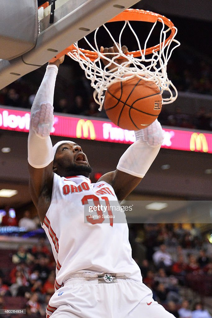 Anthony Lee of the Ohio State Buckeyes slams home two points in the second half against the High Point Panthers on December 10 2014 at Value City...