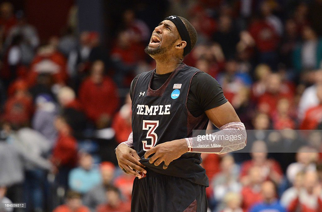 Anthony Lee #3 of the Temple Owls reacts after a play late in the game against the Indiana Hoosiers during the third round of the 2013 NCAA Men's Basketball Tournament at UD Arena on March 24, 2013 in Dayton, Ohio.