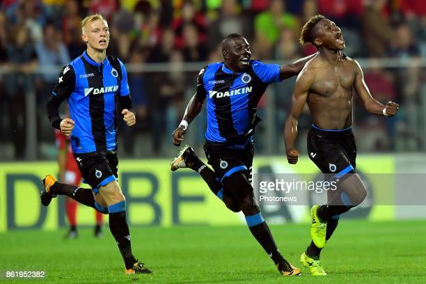 Anthony Limbombe forward of Club Brugge celebrates scoring a goal during the Jupiler Pro League match between KV Oostende and Club Brugge at the...