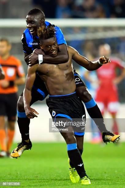 Anthony Limbombe forward of Club Brugge celebrates scoring a goal with Marvelous Nakamba midfielder of Club Brugge during the Jupiler Pro League...