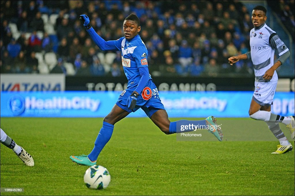 Anthony Limbombe of Genk in action during the Jupiler League match between KRC Genk and Oud Heverlee Leuven OHL on November 25, 2012 in Genk, Belgium.