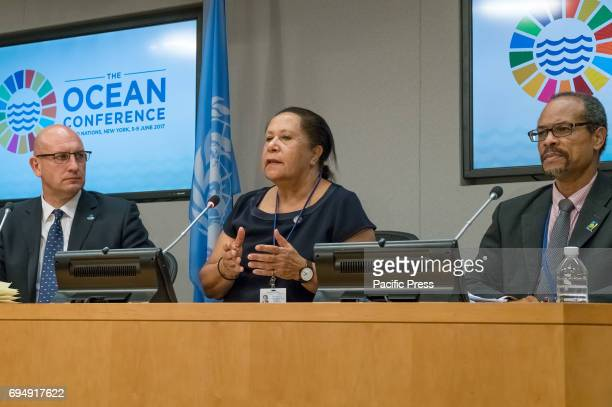 Anthony Long Meg Taylor and Milton Haughton are seen during the press briefing On the penultimate day of the weeklong United Nations highlevel 'Ocean...