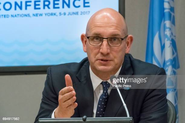 Anthony Long speaks with the press On the penultimate day of the weeklong United Nations highlevel 'Ocean Conference' at UN Headquarters in New York...