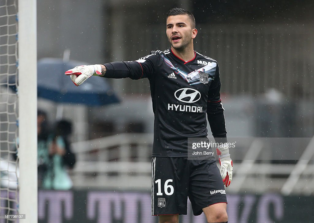 Anthony Lopes, goalkeeper of Lyon in action during the Ligue 1 match between Olympique Lyonnais, OL, and AS Saint-Etienne, ASSE, at the Stade Gerland on April 28, 2013 in Lyon, France.
