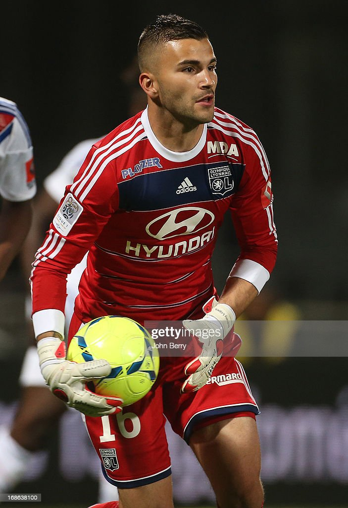 Anthony Lopes, goalkeeper of Lyon in action during the Ligue 1 match between Olympique Lyonnais, OL, and Paris Saint-Germain FC, PSG, at the Stade Gerland on May 12, 2013 in Lyon, France.