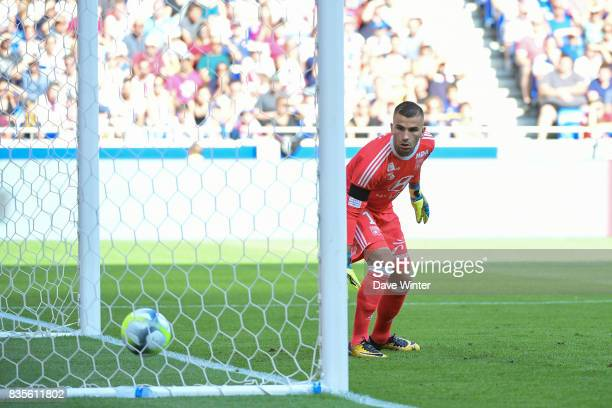 Anthony Lopes of Lyon concedes a goal during the Ligue 1 match between Olympique Lyonnais and FC Girondins de Bordeaux at Groupama Stadium on August...