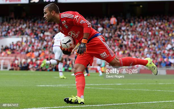 Anthony Lopes of Lyon holds onto the ball during the Emirates Cup match between Arsenal and Olympique Lyonnais at the Emirates Stadium on July 25...