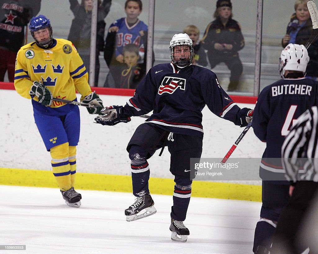 Anthony Louis #9 of the USA celebrates his third period goal against Sweden during the U-18 Four Nations Cup on November 9, 2012 at the Ann Arbor Ice Cube in Ann Arbor, Michigan. USA won 5-3.