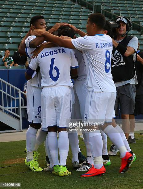 Anthony Lozano Bryan Acosta Rodolfo Espinal and their Honduras teammates celebrate Lozano's first half goal against the Haiti in the first half...